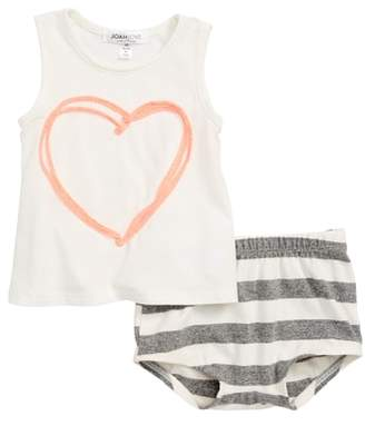 Joah Love Heart Tank & Stripe Shorts Set