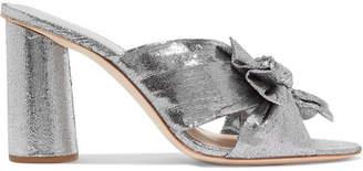 Loeffler Randall Penny Bow-detailed Plissé-lamé Mules - Silver