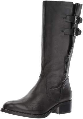 Gentle Souls Women's Brian Mid-Calf Boot with Buckle Detail Angled Topline Leather Harness Boot