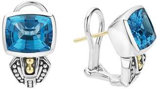Lagos 18K Gold and Sterling Silver Caviar Color Stud Huggie Drop Earrings with Swiss Blue Topaz
