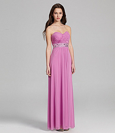 B. Darlin Strapless Beaded Gown