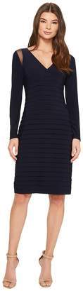 Adrianna Papell Banded Long Sleeve Sheath Women's Dress