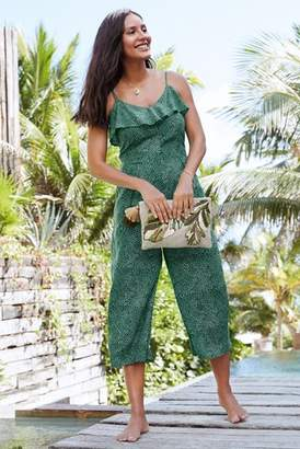 Next Womens Green Print Frill Layer Jumpsuit