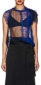 3.1 Phillip Lim Women's Colorblocked Sheer Lace Blouse - Electric Blu