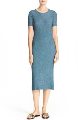 Women's Tibi Marcel Metallic Knit Midi Dress $595 thestylecure.com