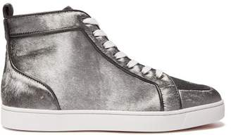 Christian Louboutin Rantus Orlato Calf Hair High Top Trainers - Mens - Silver Multi