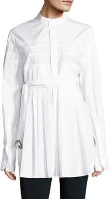 Calvin Klein Collection Kaimee Belted Pleated Cotton Shirt