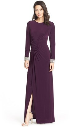 Women's Vince Camuto Beaded Cuff Ruched Jersey Gown $188 thestylecure.com