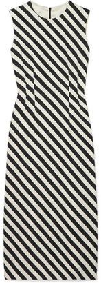 Dries Van Noten Striped Satin Midi Dress - Black