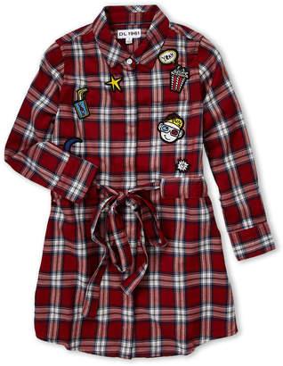 DL1961 Girls 7-16) Plaid Patch Long Sleeve Shirtdress