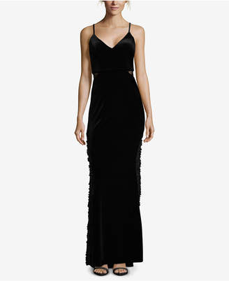 Betsy & Adam V-Neck Velvet Applique Gown