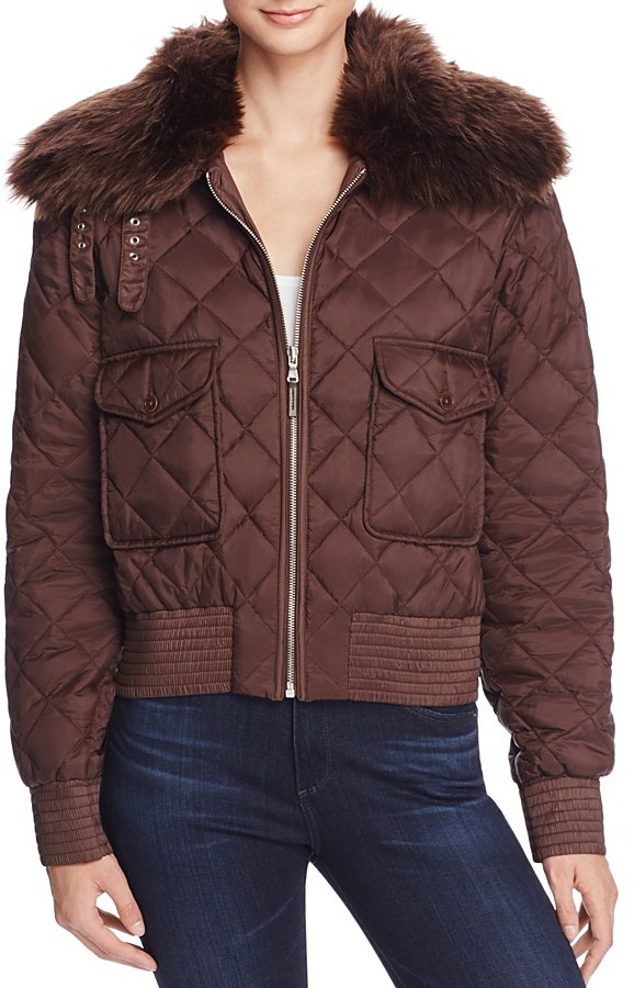Lauren Ralph LaurenLauren Ralph Lauren Faux Fur Collar Quilted Jacket