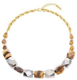 Steve Madden Multi-Faceted Tiger's Eye & Hematite Beads Necklace