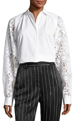 DKNY Collared Lace-Trim Poplin Shirt, White $398 thestylecure.com