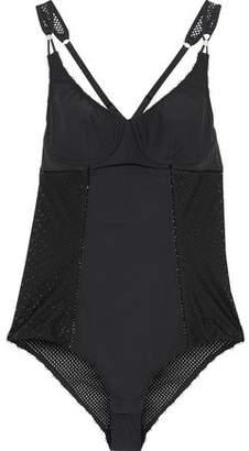Stella McCartney Lattice-Trimmed Mesh-Paneled Stretch-Knit Bodysuit