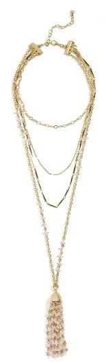 Women's Baublebar Quartz Tassel Layered Necklace