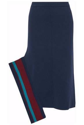 Striped Ribbed Stretch-Knit Midi Skirt