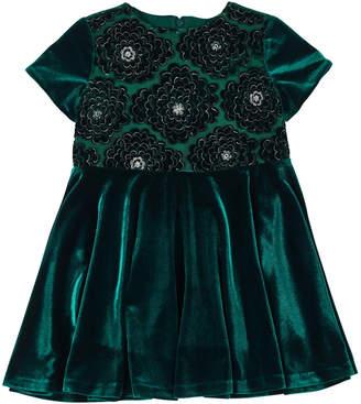Florence Eiseman Stretch Velvet Lace-Overlay Short-Sleeve Dress, Size 4-6X