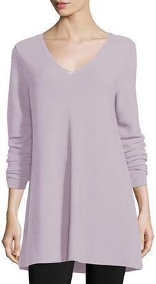 Eileen Fisher Crisp Cotton Links Long-Sleeve V-Neck Tunic $218 thestylecure.com