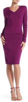 Nicole Miller V-Neck Side Tuck Knit Dress