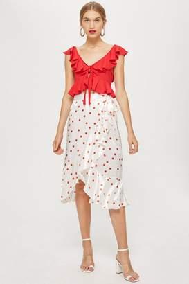 Topshop PETITE Spot Ruffle Midi Skirt