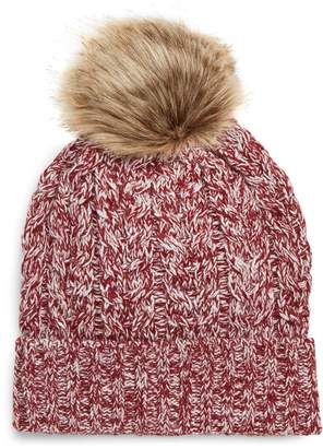 Sole Society Cable Knit Beanie with Faux Fur Pom