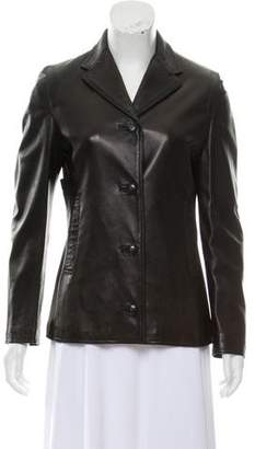 Gianni Versace Leather Notch-Lapel Blazer