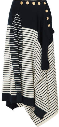 J.W.Anderson Asymmetric Striped Wool-blend Skirt - Navy
