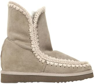 70mm Short Eskimo Shearling Wedge Boots $328 thestylecure.com