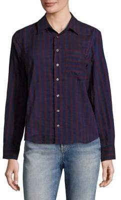 Amo Ruffled Back Striped Shirt