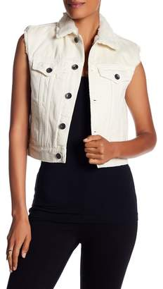Helmut Lang Faux Fur Trim Shrunken Denim Vest