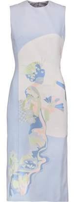 Thom Browne Moon Geisha Pleated Printed Silk-Jacquard Dress