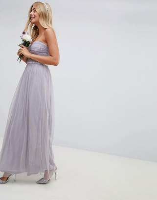 Asos Design DESIGN Bridesmaid bandeau mesh embellished waist maxi dress