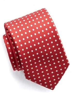 Drakes Drake's Red and White Polka Dot Print Silk Tie