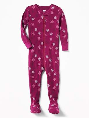 Old Navy Snowflake-Print Footed One-Piece Sleeper for Toddler & Baby