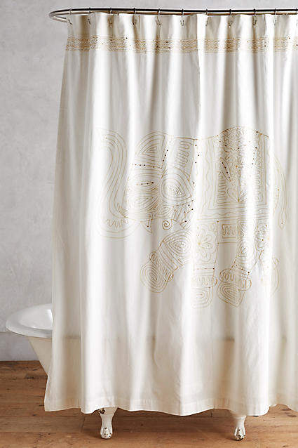 Anthropologie Anthropologie Embroidered Elephant Shower Curtain