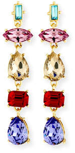 Sequin Mixed-Shape Crystal Drop Earrings