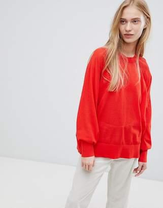 Weekday Sheer Long Sleeve Top in Red
