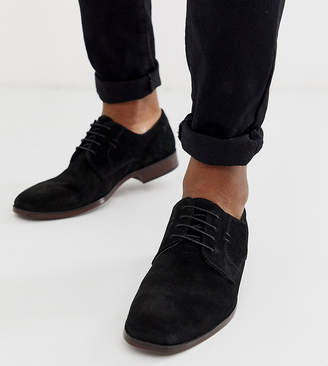 Asos Design DESIGN derby shoes in black suede with natural sole