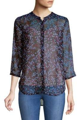 French Connection Aubine Crinkle Floral Button-Down Shirt
