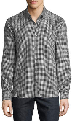 John Varvatos Roll-Tab Sleeve Gingham Sport Shirt