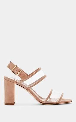 Manolo Blahnik Women's Khan Suede & PVC Sandals - Pink Suede