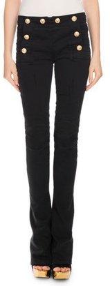 Balmain Sailor-Button Boot-Cut Jeans, Black $1,480 thestylecure.com