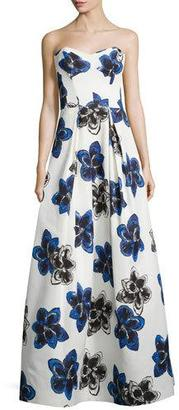 Milly Strapless Floral-Print Ball Gown, Sapphire $1,100 thestylecure.com