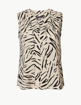 Marks and Spencer PETITE Animal Print V-Neck Shell Top