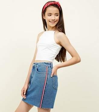 New Look Girls Blue Stripe Side Tape Denim Skirt