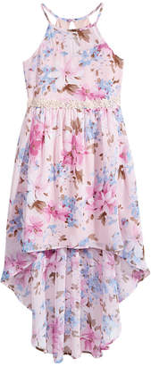 Sequin Hearts Floral-Print High-Low Hem Dress, Big Girls