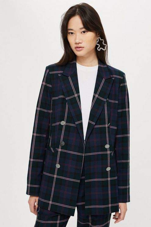 Tall Double Breasted Check Jacket