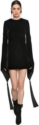 Saint Laurent Silk Velvet Mini Dress W/ Tassels
