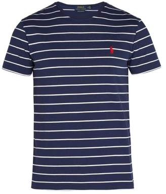 Polo Ralph Lauren - Logo Embroidered Striped Cotton Jersey T Shirt - Mens - Blue Multi